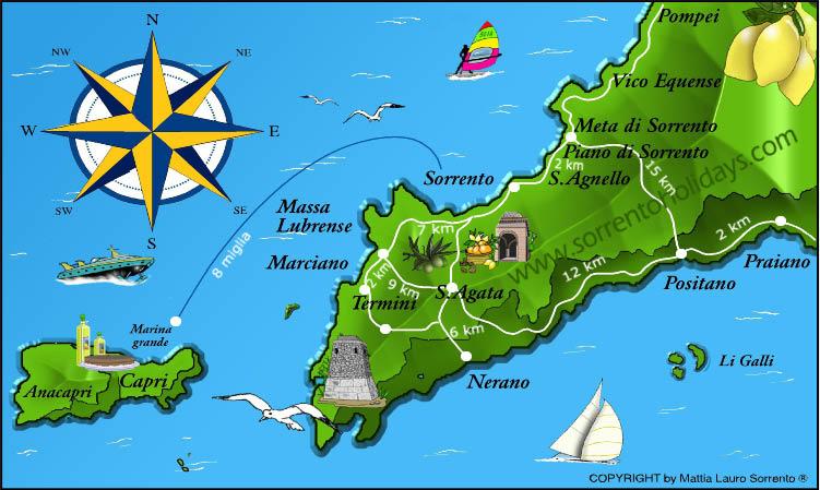 Cartina Costiera Amalfitana E Capri.Sorrento Holidays Mappa